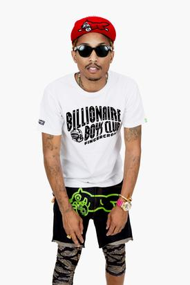 Pharrell rocks BBC & leggings under shorts-- a style currently fashionable