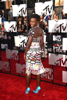 Lupita again on the red carpet. Image via Getty.