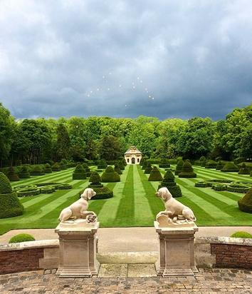 Kim shares this image of Château de Wideville on Instagram