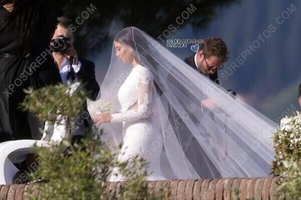 Kim in her wedding dress
