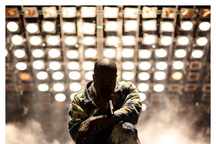 Kanye West performs at Glastonbury