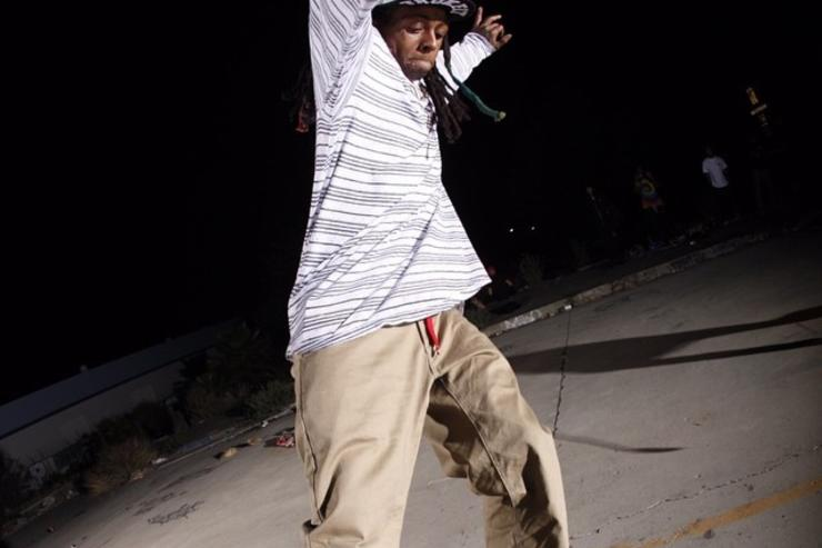Lil Wayne catches some air on his skateboard