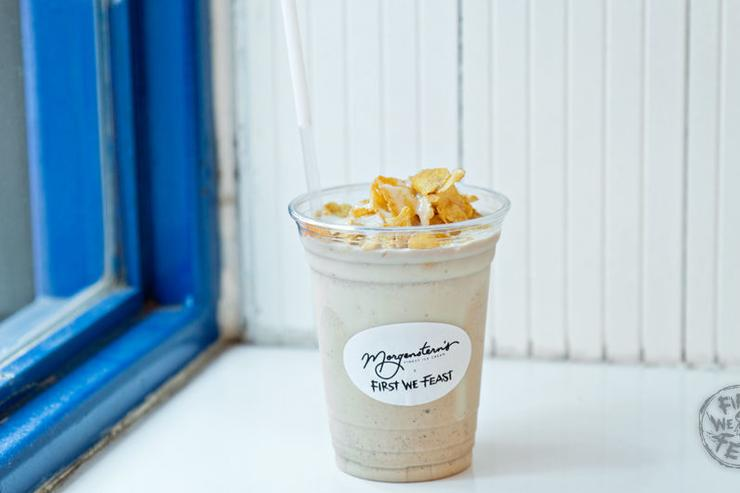 Beautiful Morning Milkshake - Coffee ice cream with corn flakes.