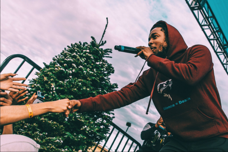 Kendrick Lamar performs at the Third Annual Holiday Concert and Toy Giveaway