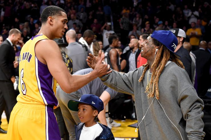 Lil Wayne at Lakers vs. Brooklyn Nets basketball game in LA.