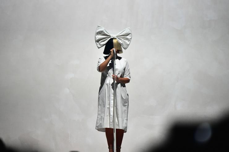 Sia performing in concert in Brooklyn.
