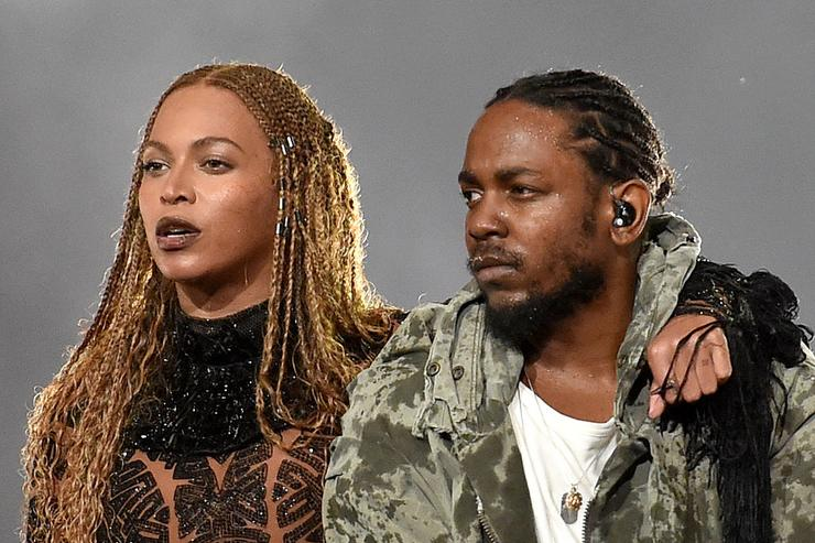 Beyonce (L) and Kendrick Lamar perform onstage during the 2016 BET Awards at the Microsoft Theater on June 26, 2016 in Los Angeles, California.