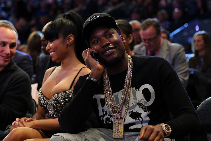Nicki Minaj and Meek Mill attend the 2015 NBA All-Star Game at Madison Square Garden on February 15, 2015 in New York City.
