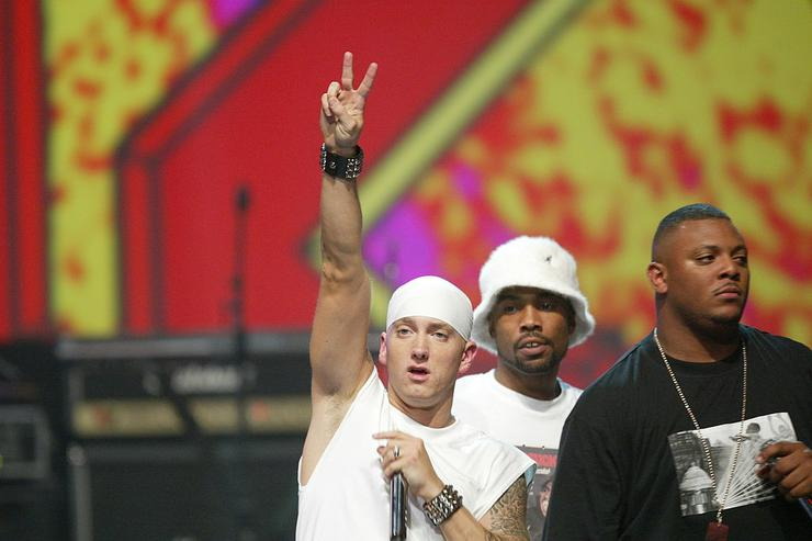Eminem performs on stage at the 2004 MTV Movie Awards at the Sony Pictures Studios on June 5, 2004 in Culver City, California.