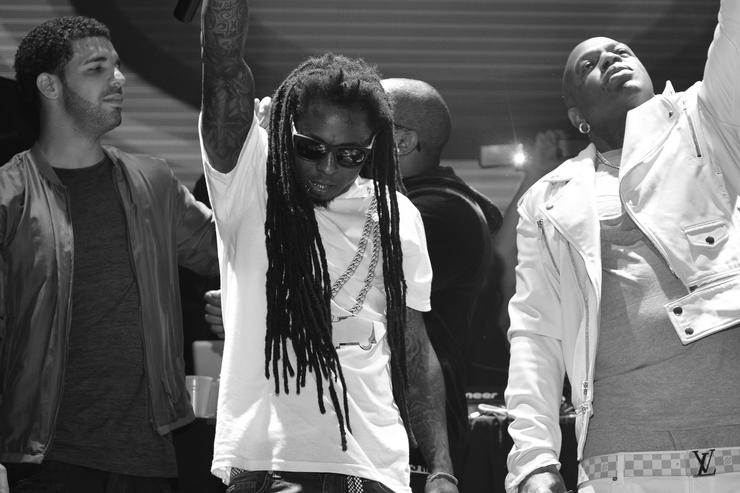 Birdman, Lil Wayne and Drake at Lil Wayne's party in Houston in 2013.