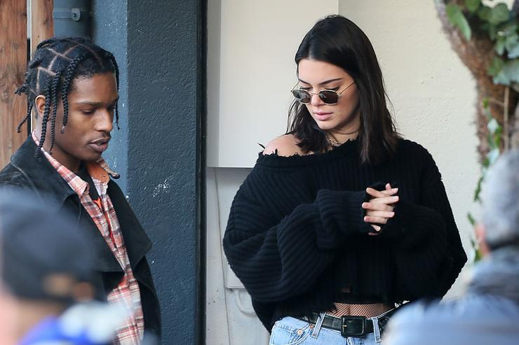 Kendall Jenner sighting with Asap Rocky at a flea market on January 22, 2017 in Paris, France.