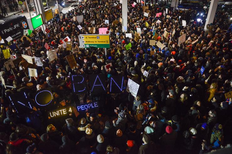 Protesters at JFK airport.Protesters at JFK airport.Protesters at JFK airport.Protesters at JFK airport.
