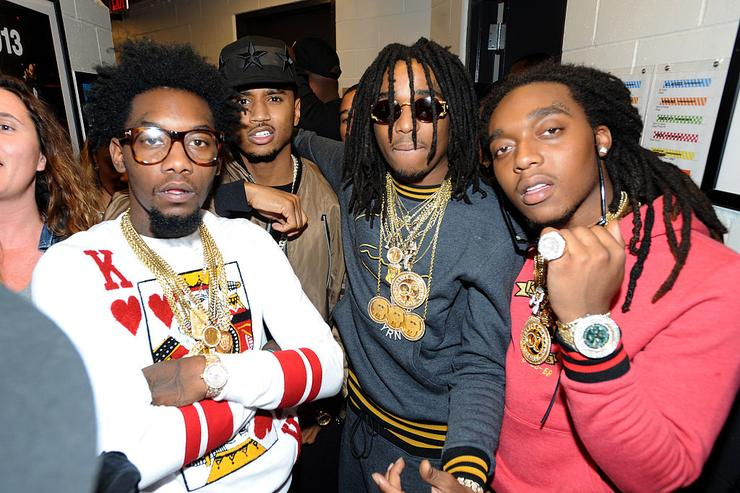 Migos backstage at Power 105.1's Powerhouse 2014 at Barclays Center of Brooklyn on October 30, 2014 in New York City.