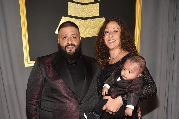 Producer DJ Khaled, Nicole Tuck and Asahd Tuck Khaled attend The 59th GRAMMY Awards at STAPLES Center on February 12, 2017 in Los Angeles, California.