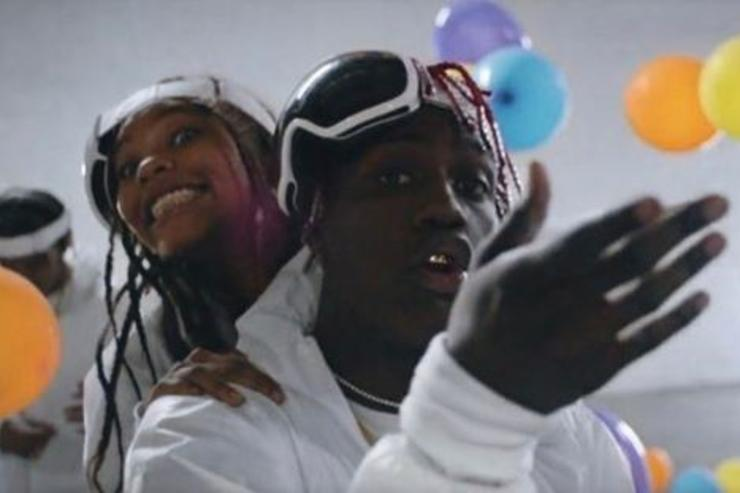 Lil Yachty raps during a video shoot.