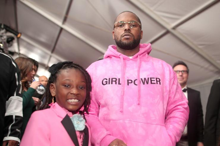 ScHoolboy Q and his daughter attend The 59th GRAMMY Awards at STAPLES Center on February 12, 2017 in Los Angeles, California.