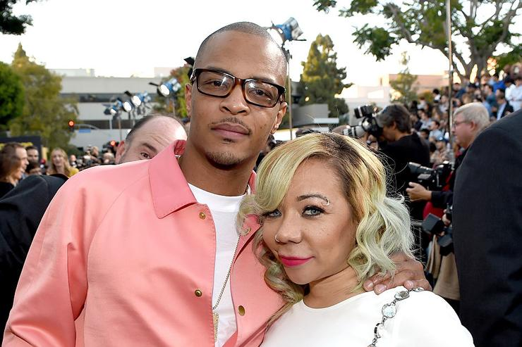 T.I. (L) and Tameka Cottle attend the premiere of Warner Bros. Pictures' 'Entourage' at Regency Village Theatre on June 1, 2015 in Westwood, California.
