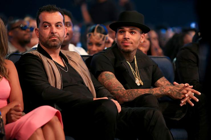 Chris Brown (R) attends the 2015 BET Awards at the Microsoft Theater on June 28, 2015 in Los Angeles, California.
