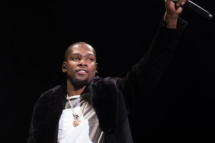 Kevin Durant on stage at Roc city classic: Flatiron District on February 12, 2015 in New York City.