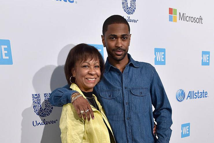 Multi-platinum, Grammy-nominated hip hop recording artist Big Sean (R) and Myra Anderson attend WE Day California 2016 at The Forum on April 7, 2016 in Inglewood, California.