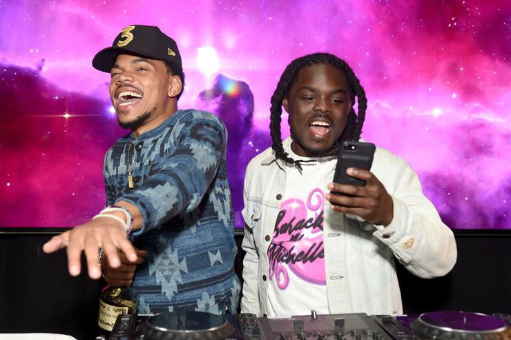 Chance the Rapper and DJ Oreo attend GQ and Chance The Rapper Celebrate the Grammys in Partnership with YouTube at Chateau Marmont on February 12, 2017 in Los Angeles, California.