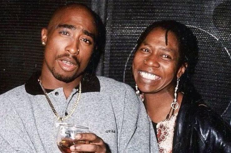 Tupac Shakur poses for a photo with his mother Afeni Shakur.