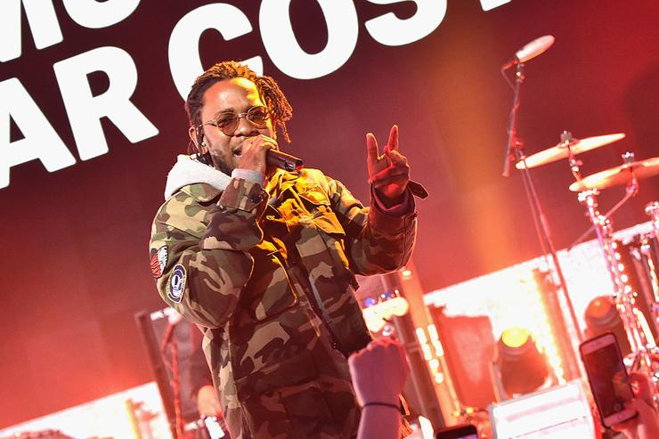 Kendrick Lamar performing at the 2016 MTV Upfront at Skylight At Moynihan Station at Skylight at Moynihan Station on April 21, 2016 in New York City.
