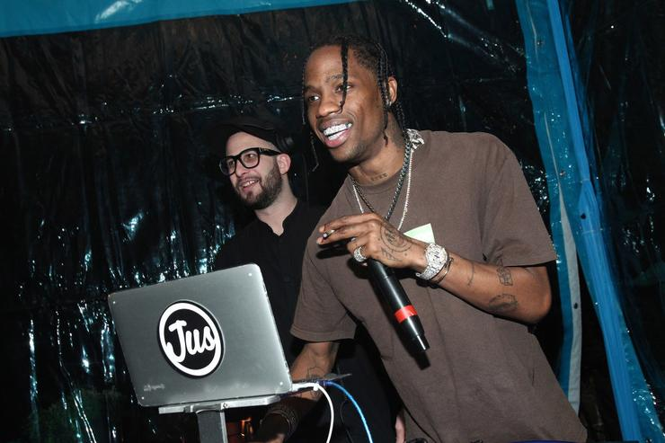 Travis Scott performs at the Travis Scott / Cactus Jack party at the private residence of Jonas Tahlin, CEO Absolut Elyx on February 11, 2017 in Los Angeles, California.