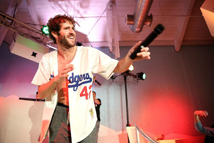 Lil Dicky (dodgers shirt) performs at VH1's 'The Breaks Lounge' Scope Official Party on December 4, 2015 in Miami Beach, Florida.