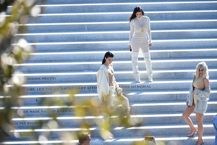 Kendall Jenner, Kim Kardashian and Kylie Jenner attend the Kanye West Yeezy Season 4