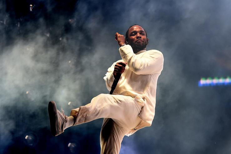 Kendrick Lamar performs on the Coachella Stage during day 3 of the Coachella Valley Music