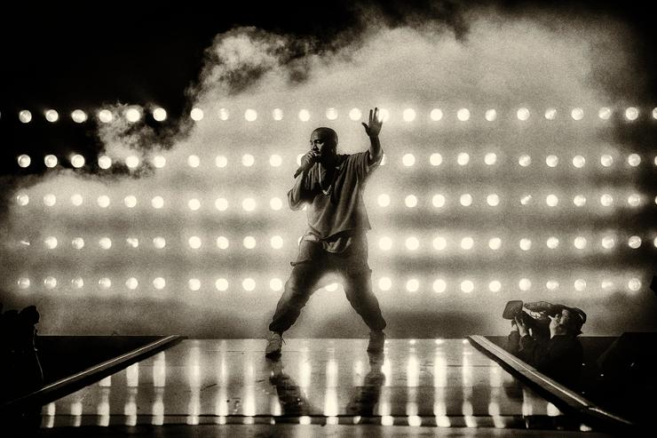 Kanye West performs onstage at the 2015 iHeartRadio Music Festival at MGM Grand Garden Arena