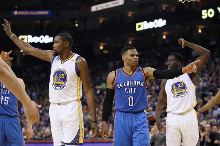 Kevin Durant #35 of the Golden State Warriors and Russell Westbrook #0 of the Oklahoma City Thunder point
