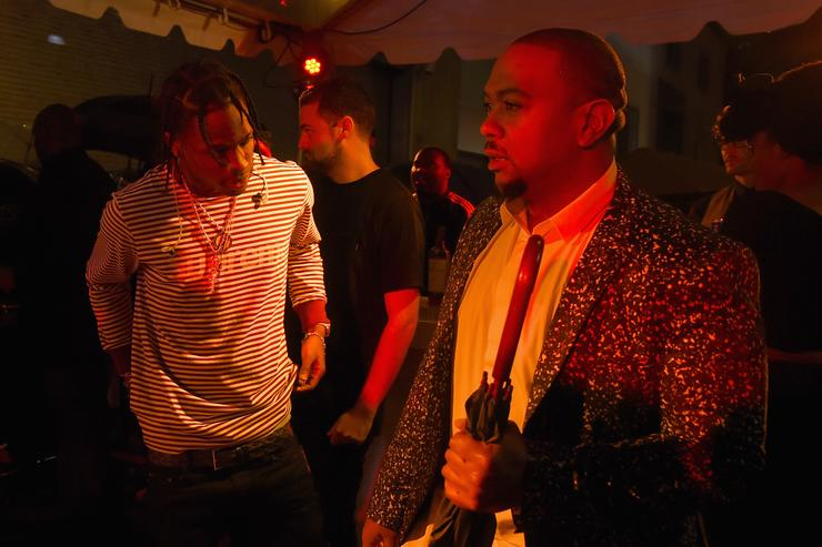 ravis Scott and Timbaland attend the Rihanna Party at The New York Edition