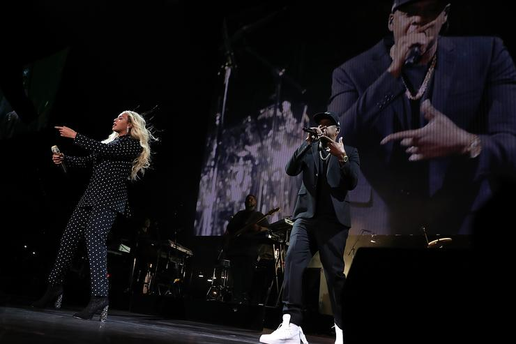 Recording artists Beyonce and Jay Z perform during a Get Out The Vote concert Democratic presidential nominee former Secretary of State Hillary Clinton at Wolstein Center on November 4, 2016 in Cleveland, Ohio.
